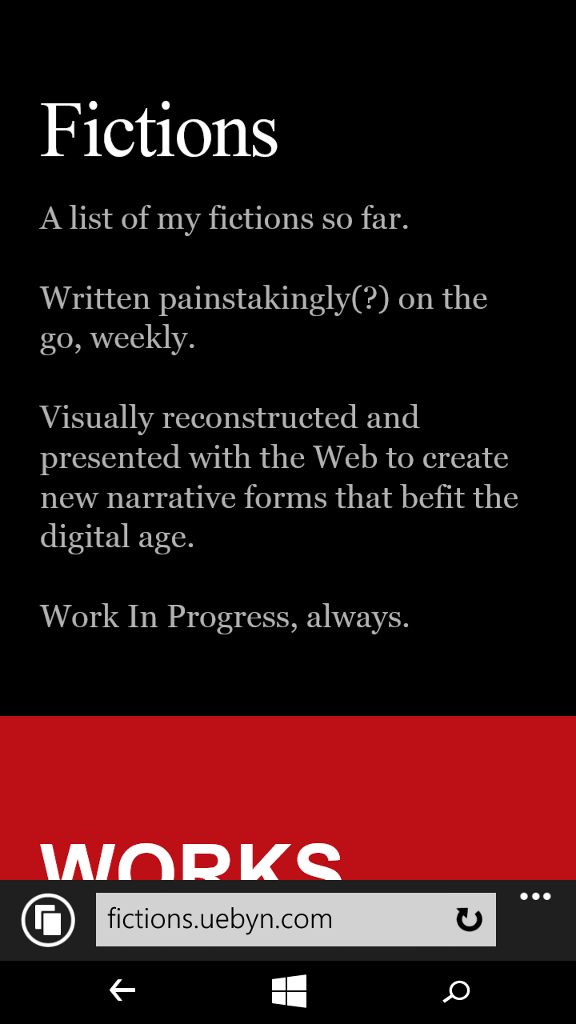 Screenshot of Fictions on my Windows Phone