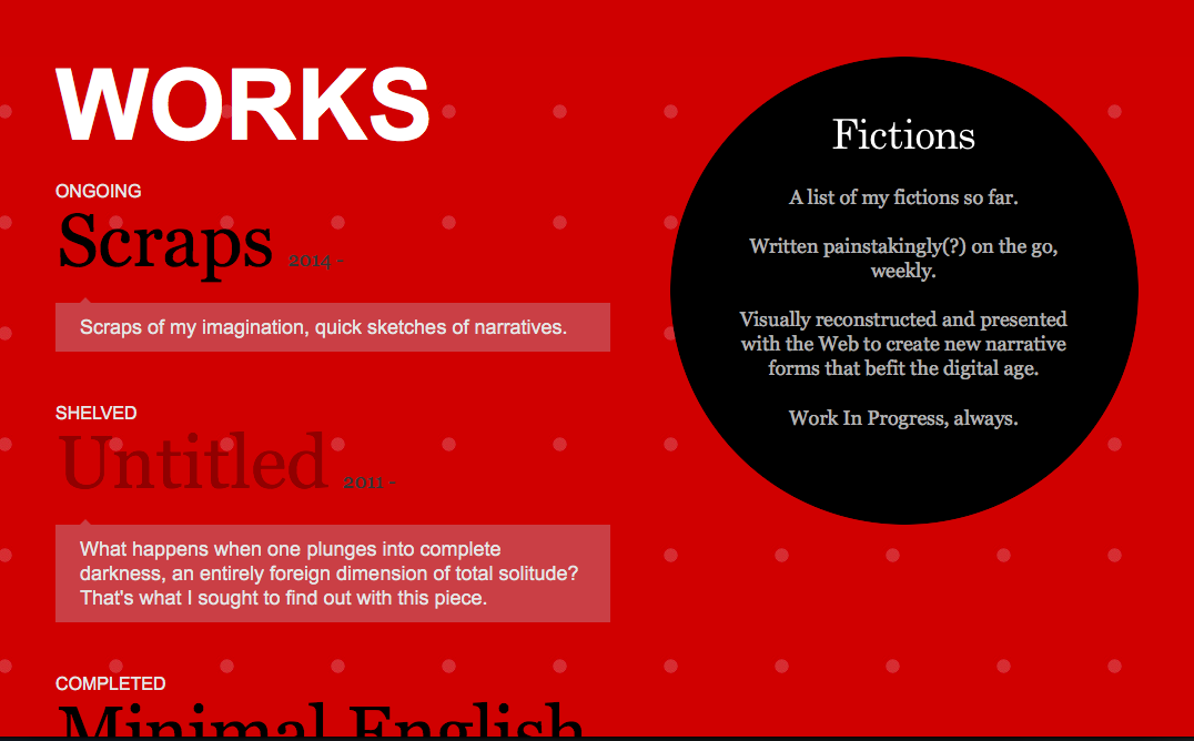 Fictions homepage on Safari, with Javascript disabled