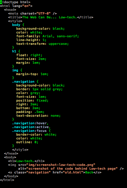 Screenshot of the code behind a simple webpage