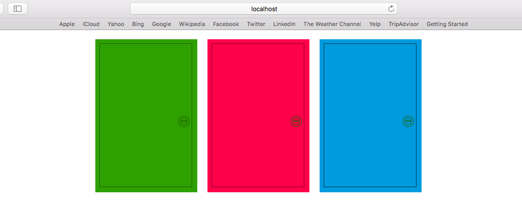 3 doors of green, pink, and blue, drawn with CSS and presented on a browser.